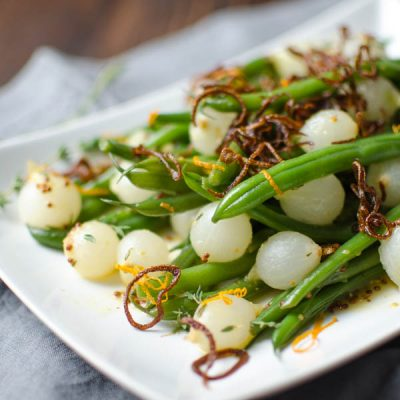 Orange-Dijon Haricots Verts with Crispy Shallots