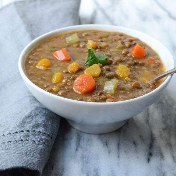 hearty lentil butternut soup | Garlic + Zest