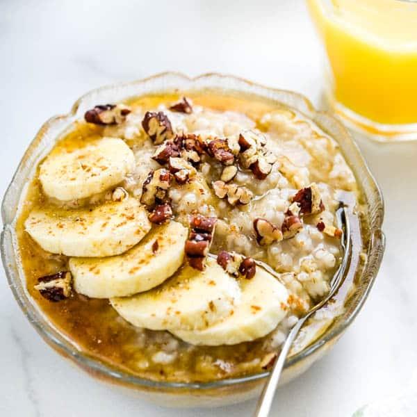 Banana Pecan Maple Irish Oatmeal