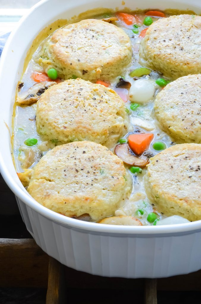 closeup of Turkey and Pepper-Biscuit Pot Pie