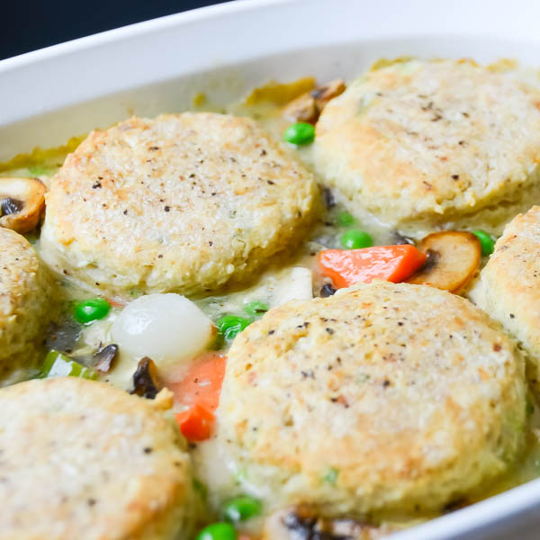 extreme closeup of Turkey and Pepper-Biscuit Pot Pie