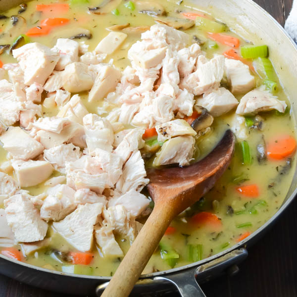 turkey and vegetables in a pan with spoon
