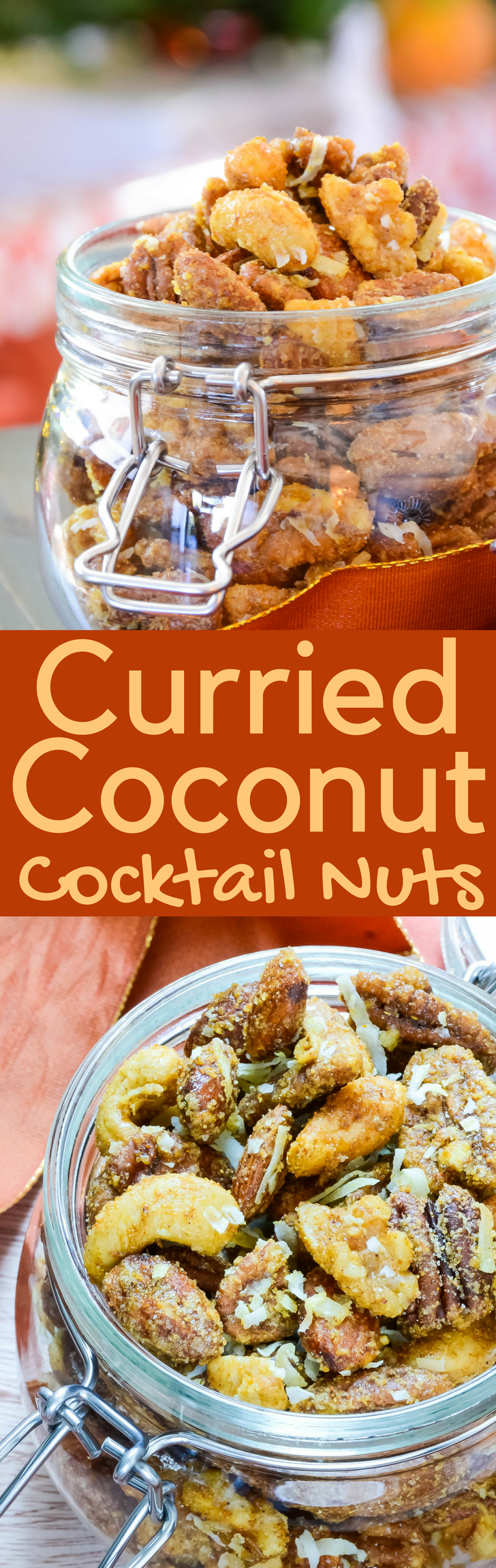 This simple spiced nut recipe also makes a great hostess gift. Curried Coconut Cocktail Nuts are an easy-to-make snack treat for the holidays!