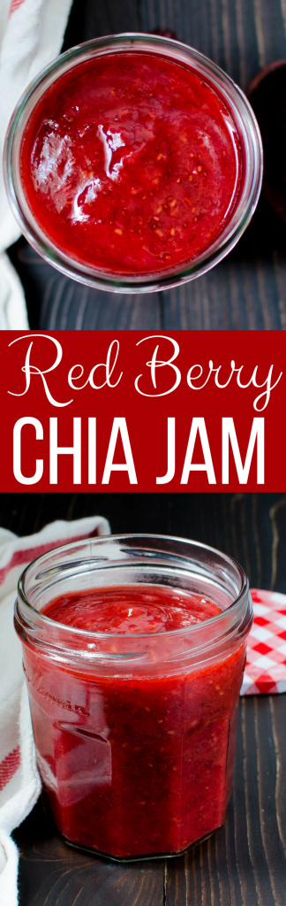 Learn how to make small batch homemade jam!  This simple Red Berry Chia Jam recipe is easy to make and only takes a few ingredients.