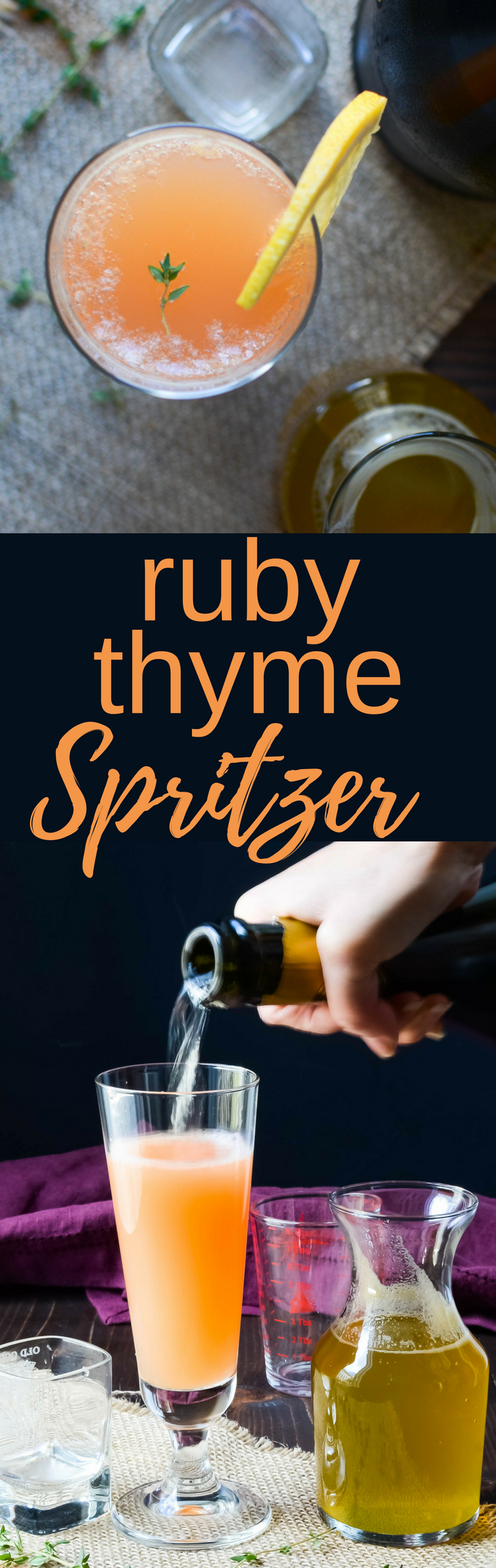 Ruby Thyme Spritzers are a spirited brunch cocktail!  Great for holidays and celebrations w/ honey thyme simple syrup, ruby red grapefruit juice & prosecco.