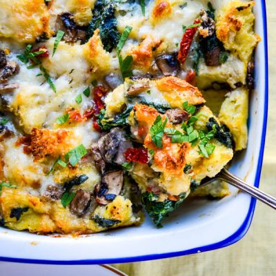Spinach and Mushroom Breakfast Strata