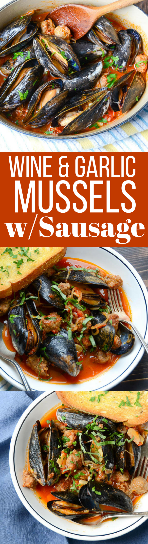 This simple one pot meal is ready in minutes.  Wine and Garlic Mussels with Sausage is an easy recipe that really satisfies!