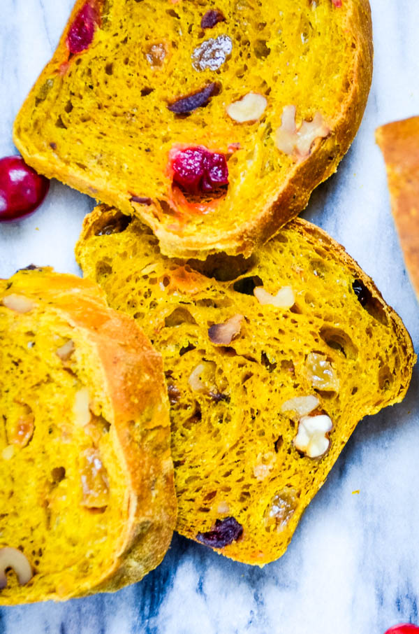 Sliced Yeast Pumpkin Bread.