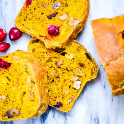 Nutty Pumpkin Cranberry Bread with Yeast