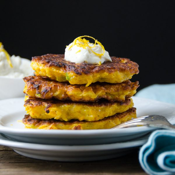 Butternut Fritters with Lemon Chèvre | Garlic + Zest