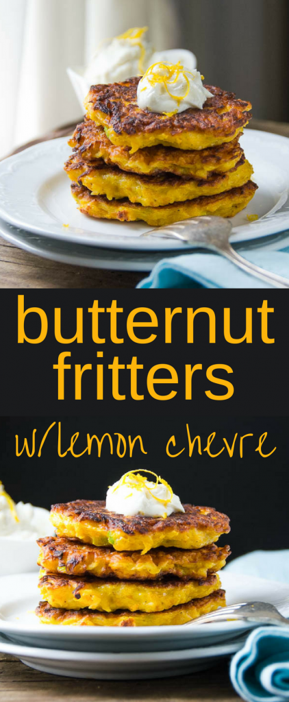 This easy recipe for butternut fritters with lemon chevre make an excellent appetizer or a delicious vegetarian side dish to any meal. Great for holidays! #sidedish #vegetarian #butternutsquash #fritters #christmasdinner #thanksgivingdinner #holidaydinner #squash #butternut #chevre #goatcheese #vegetablefritter