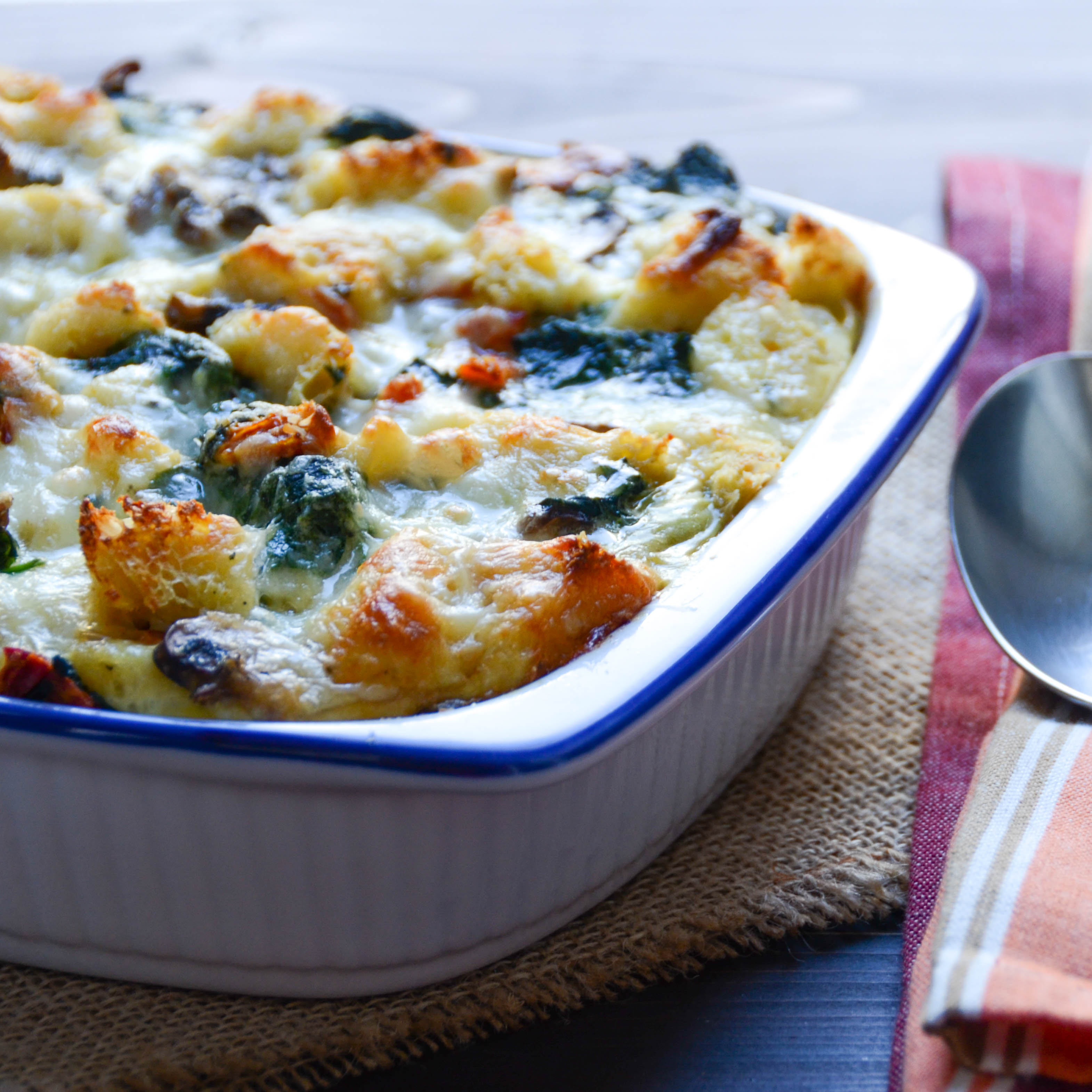 Spinach and Mushroom Strata hot from the oven