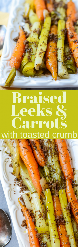 Need a healthy vegetarian side dish recipe? Braised Leeks and Carrots with Toasted Crumb is a simple way to amplify the vegetable's natural flavors.