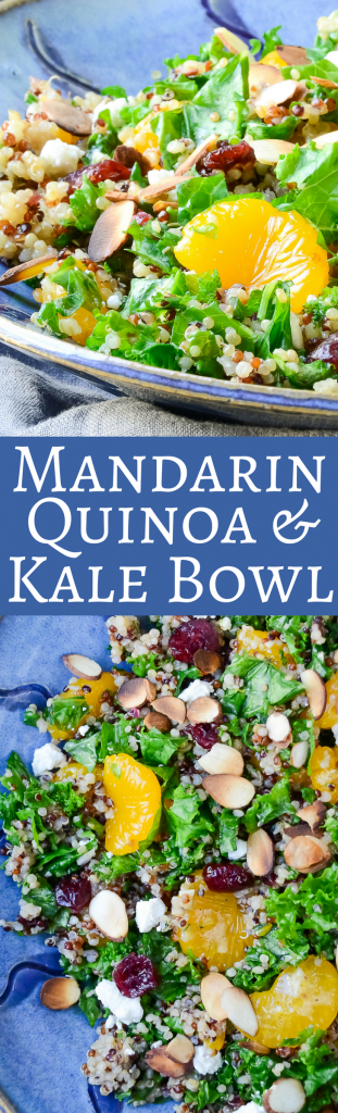 Need a healthy vegetarian main dish salad? This quinoa, mandarin, kale and cranberry combination is easy to make and a real treat to eat! #salad #healthysalads #almonds #feta #mandarin #orange #cranberries #vinaigrettes #homemadedressing #kalesaladrecipes #quinoasaladrecipes