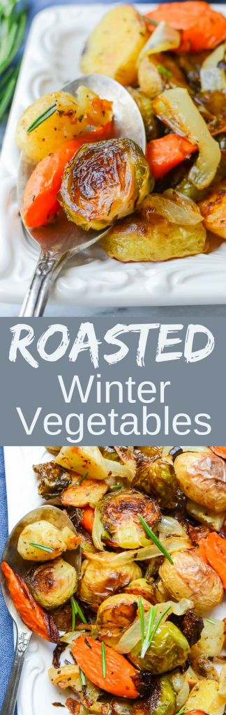 This easy recipe for Roasted Winter Vegetables is healthy and delicious. Carrots, brussel sprouts, baby potatoes & onions tossed w/fresh herbs. A fast side!