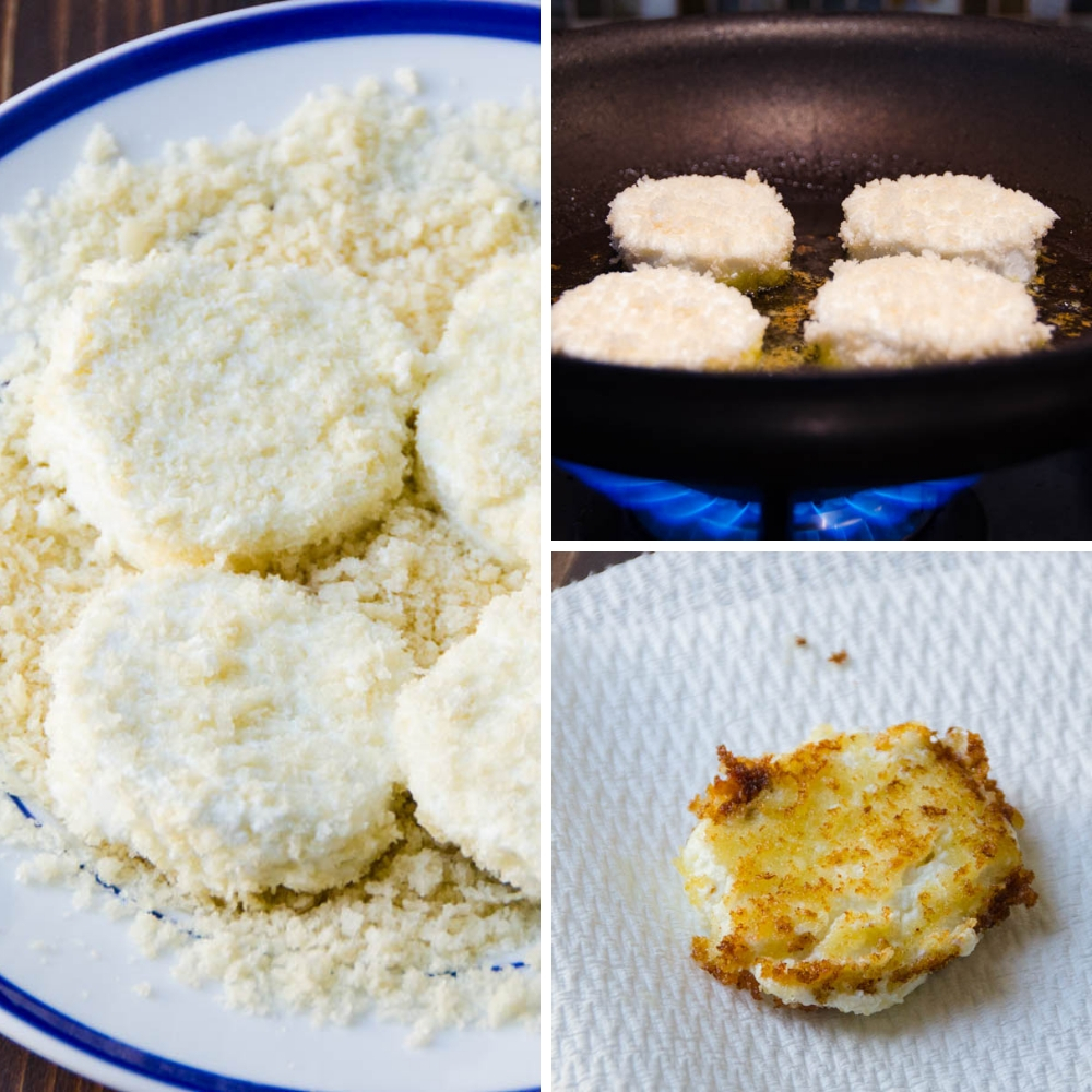 coating goat cheese in breadcrumbs and frying.