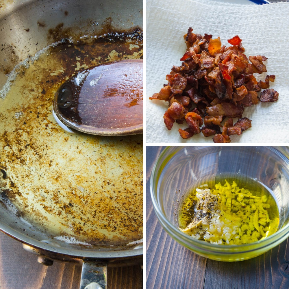crisping bacon and rendering fat for bacon vinaigrette.