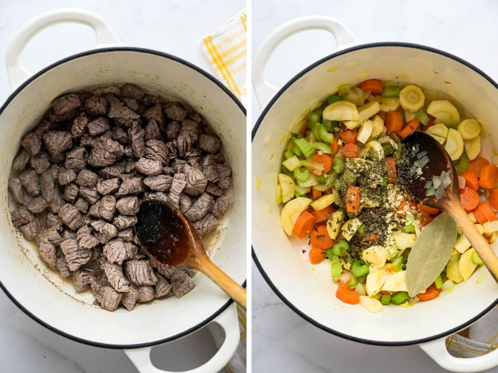 browning beef and sautéing vegetables in the dutch oven.