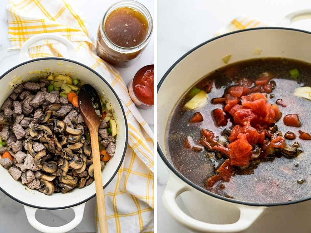 adding beef, mushrooms, broth, and tomatoes to the pot.