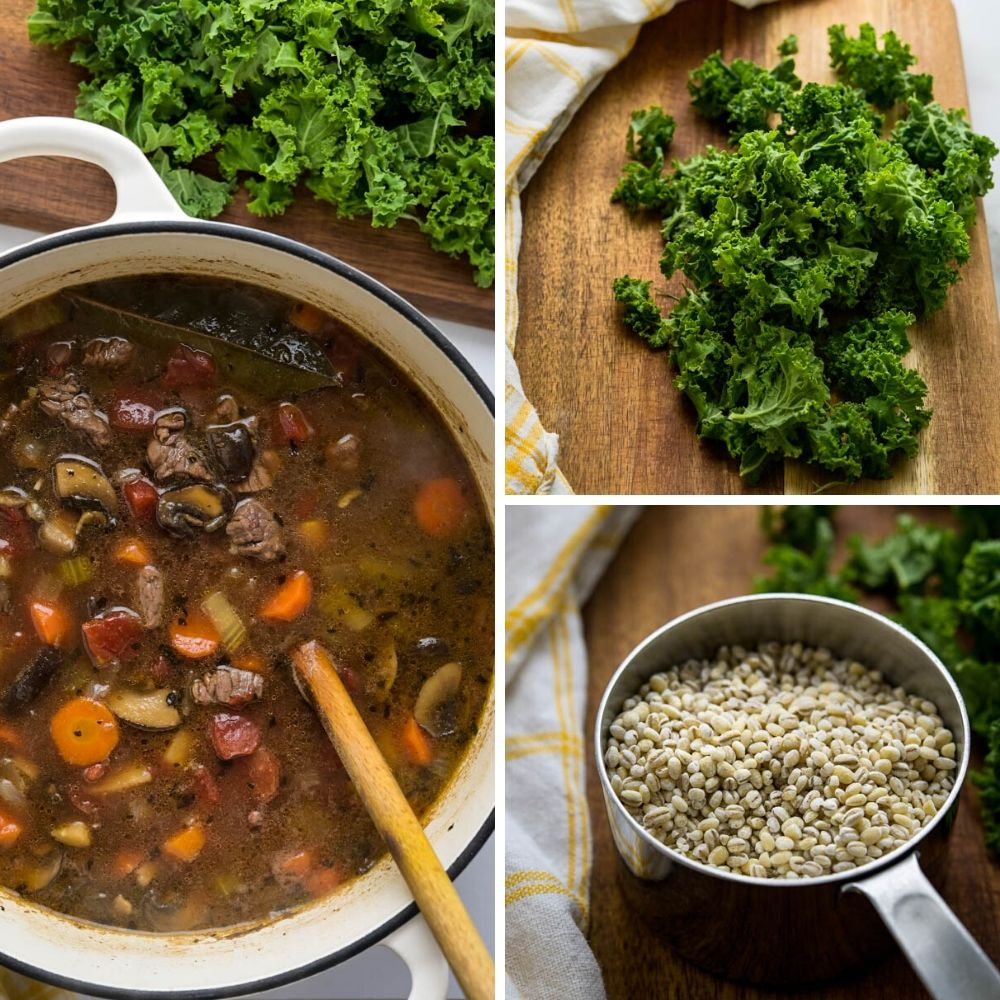 adding kale and barley to the classic beef barley soup.