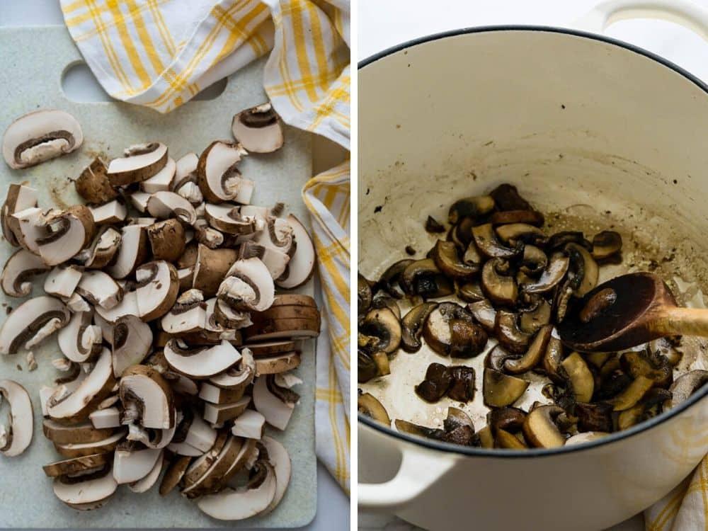 sautéing the mushrooms in a dutch oven.