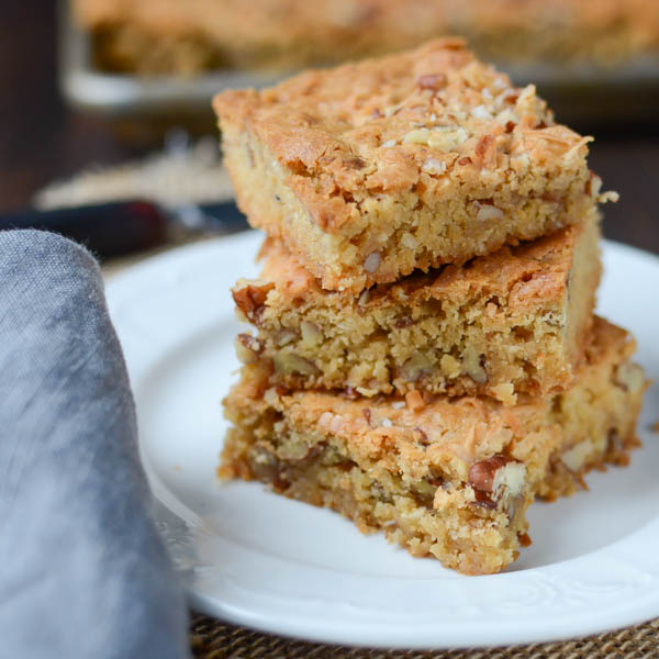 coconut pecan blondies | Garlic + Zest