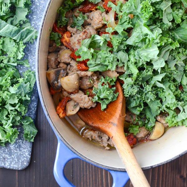 Sausage Kale and Sun Dried Tomato Gnocchi | Garlic + Zest
