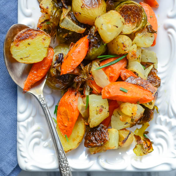 Roasted winter vegetables on a platter.