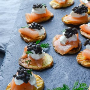 smoked salmon and caviar bites | Garlic + Zest