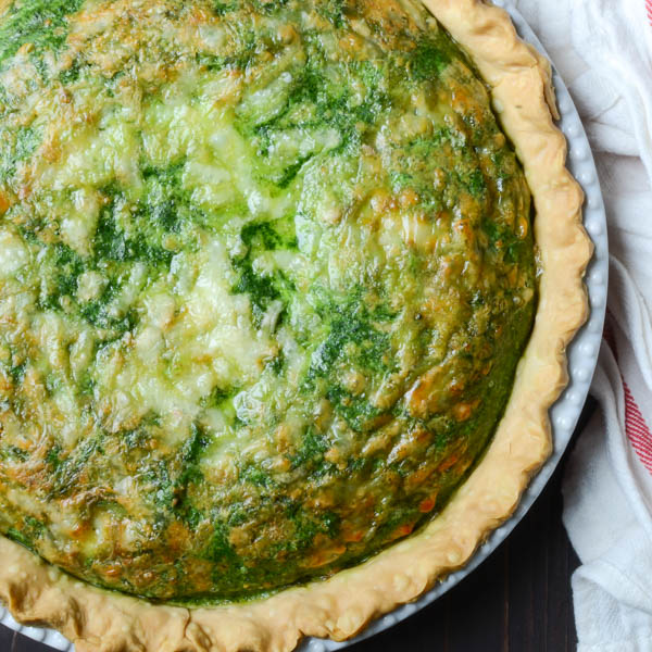 Baked Homemade Spinach Gruyere Quiche.