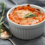 Twice Baked Sweet Potato Gratin | Garlic + Zest