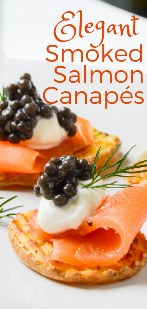 Need a good smoked salmon appetizer recipe? These Elegant Smoked Salmon Canapés are simple to make, yet impressive for special occasions. #smokedsalmonappetizer #canapes #horsdoeuvres #caviar #cremefraiche #potato #christmaseveappetizers #newyearseveappetizers #oscarnight #partyfood