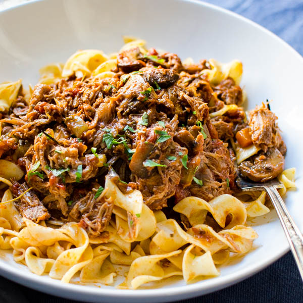 Hearty Homestyle Pork Ragout - an easy braised pork shoulder recipe.