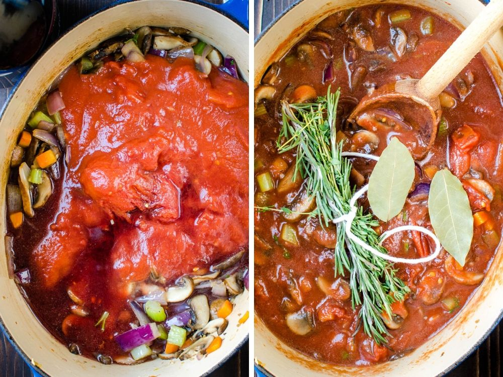 adding tomatoes, wine and herbs to the boston butt recipe.