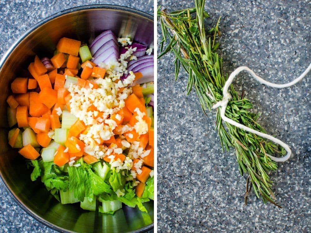 vegetables and aromatics for Boston butt pork dish.