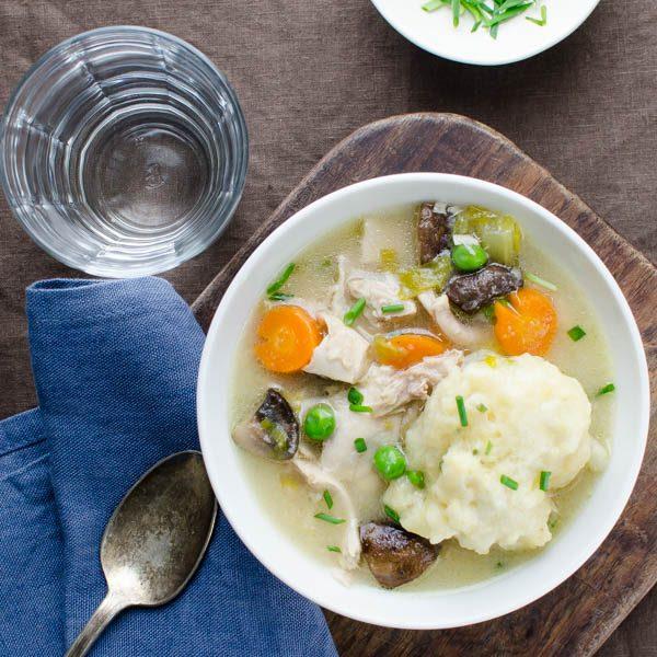 chicken n' cornmeal-chive dumplings   Garlic + Zest
