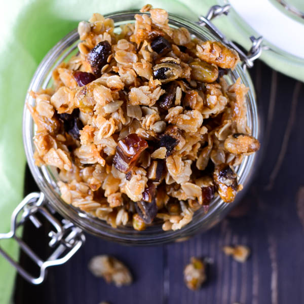 Crunchy Pistachio Date Granola with a napkin