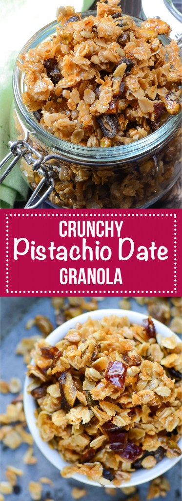 This delicious homemade granola recipe is easy to make and change up! Sprinkle this Crunchy Pistachio Date Granola over your morning yogurt for extra flavor and energy! #homemadegranola #granolarecipe #dategranola #pistachiogranola #breakfast #brunch #oats #honey #oatmeal #rolledoats #bakedgranola #vegetarian #snacks