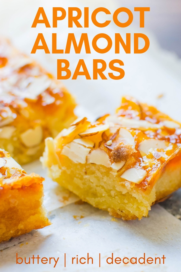 Love fruit and nut bars? With a buttery crust and crunchy sliced almonds these apricot almond bars are heavenly. Truly the best apricot bars EVER! #apricotrecipes #apricotbars #barcookies