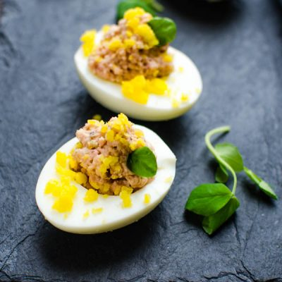 Savory Deviled Ham Stuffed Eggs
