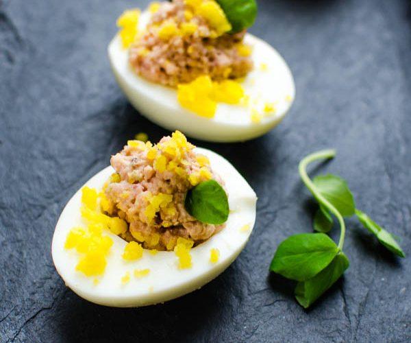 Deviled Ham Stuffed Eggs on a platter.