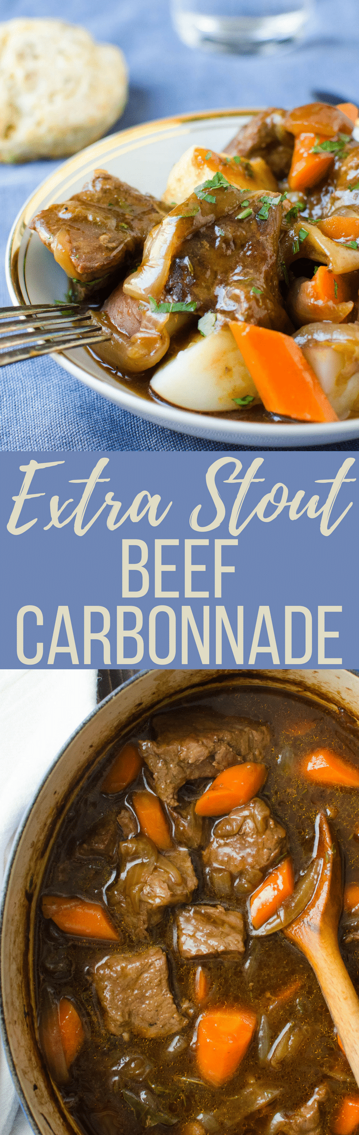The BEST beef stew recipe is this Extra Stout Beef Carbonnade with potatoes, onions and carrots simmered in Guinness Extra Stout! Hearty and warming! #beef #beefstew #carbonnade #beer #guinness #extrastout #comfortfood #stew #carrots #onions #beefstewrecipe #bestbeefstew #braising #slowcookerrecipes #dutchovenrecipes #stpattysday #saintpatricks #stpatricksdayrecipes