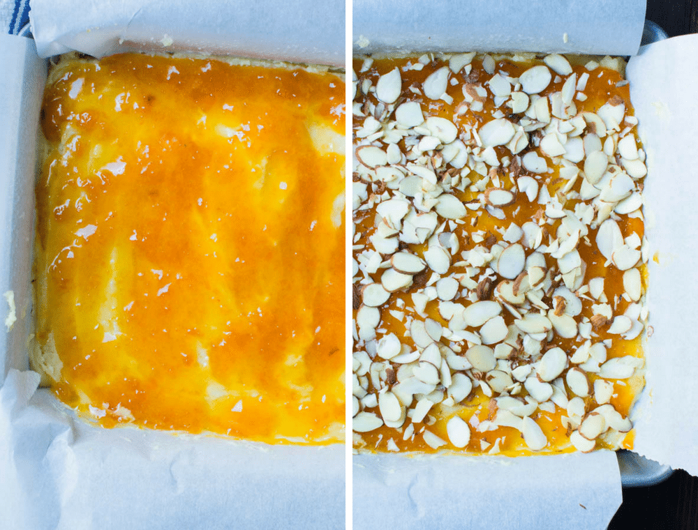 Assembling apricot almond bars.