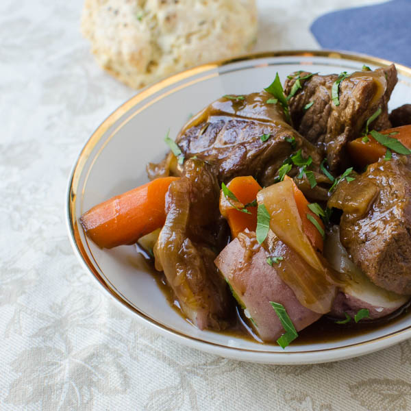 Extra Stout Beef Carbonnade on a dish.
