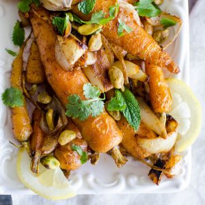 Roasted Spiced Carrots with Pistachios   Garlic + Zest