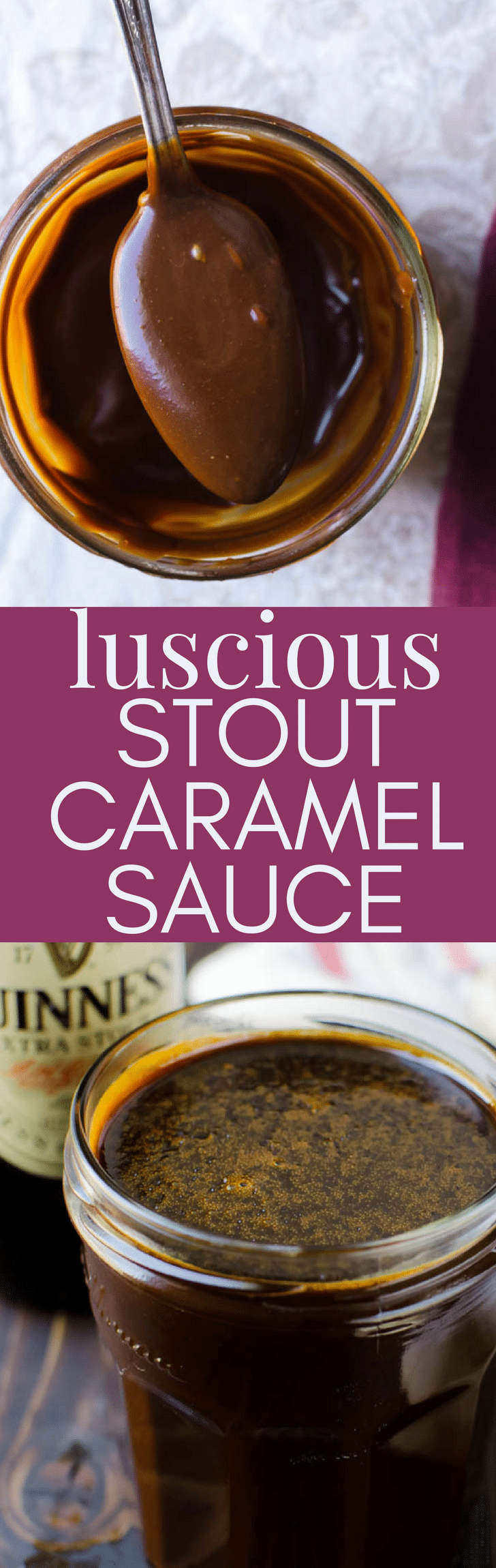 This homemade caramel sauce recipe is perfect for St. Patty's Day because it starts with Irish stout.  Deeply rich and nutty, Luscious Stout Caramel Sauce is a delicious ice cream sauce that's easy to make. #stpatricksday #stpattysday #stpattysdaydessert #dessert #icecreamtopping #icecreamsauce #caramel #caramelsauce #stout #irishstout #guinness #extrastout #homemadecaramelsauce #homemadecaramel #dessert #vegetarian #boozydesserts #dessertwithbooze #alcohol