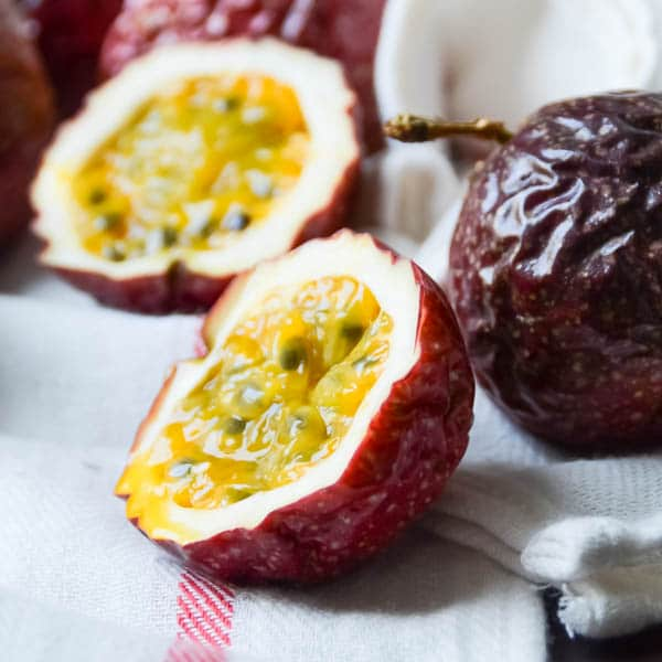 cut passion fruits.