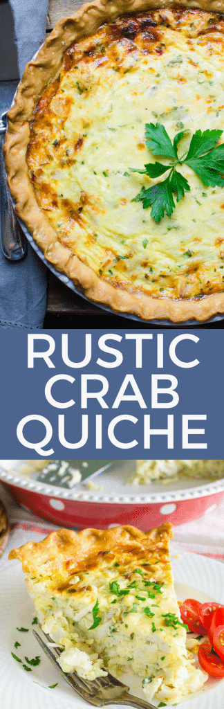 Rustic Crab Quiche is an easy seafood quiche recipe with a pound of lump crabmeat. This easy quiche recipe is great for a special brunch or lunch. #quiche #seafoodquiche #crabquiche #brunchrecipe #lunchrecipe #crab #seafood #pescatarian #brunch #lunch #howtomakequiche #easiestquicherecipe #easyquiche #eggs #pastry #makeahead #makeaheadbrunch #makeaheadlunch