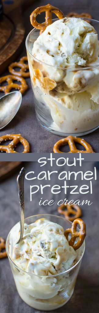 This Irish Stout sweet treat made with Guinness is rich and creamy! Stout Caramel Pretzel Ice Cream is the bar food answer to dessert! #icecream #guinness #stout #caramelsauce #pretzels #homemadeicecream #stpattysday #stpattysdessert #stpatricksday #dessert