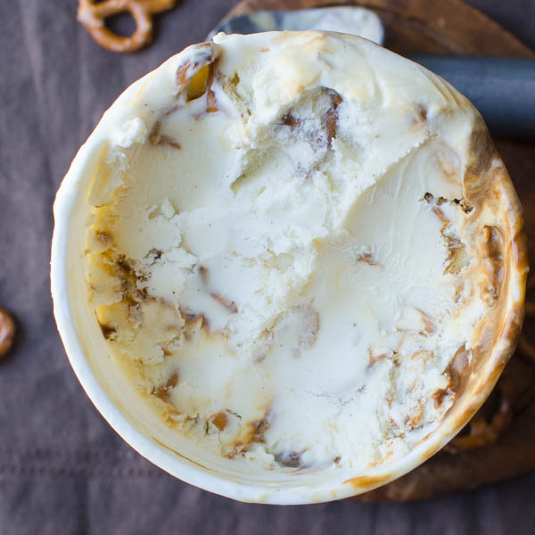Stout Caramel Pretzel Ice Cream in container.